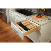 Trimmable Wood Knife Block Tray