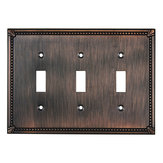Switch Plate 3 Toggle Entries - Traditional Style